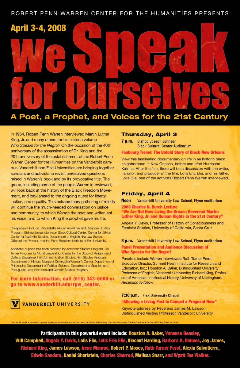 """Who Speaks for the Negro?"" conference poster"